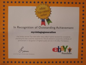 2010 eBay Top Rated Seller certificate