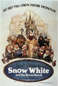 Original theatrical poster for Snow White and the Seven Dwarfs. (Illustrated by Gustaf Tenggren. Artwork © 1938 Walt Disney Productions and RKO Radio Pictures)