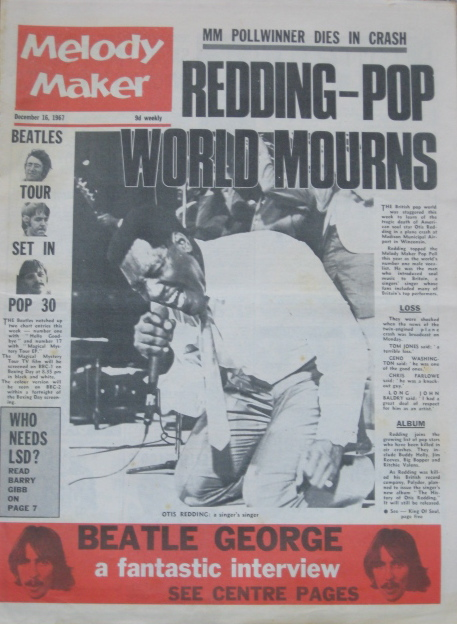 Otis Redding on the cover of Melody Maker 1967