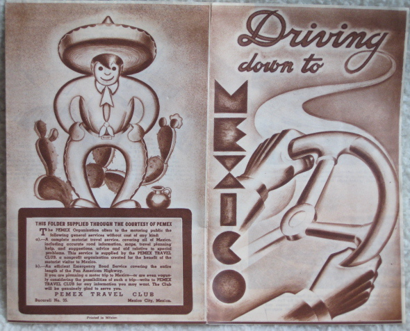 art deco driving down to mexico travel brochure. Black Bedroom Furniture Sets. Home Design Ideas